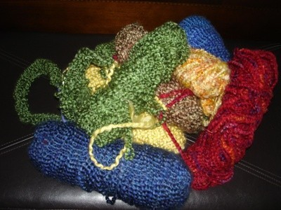 Various colors of yarn.