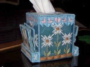 plastic canvas tissue box with coasters
