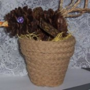 pinecone bird in small jute covered flowerpot