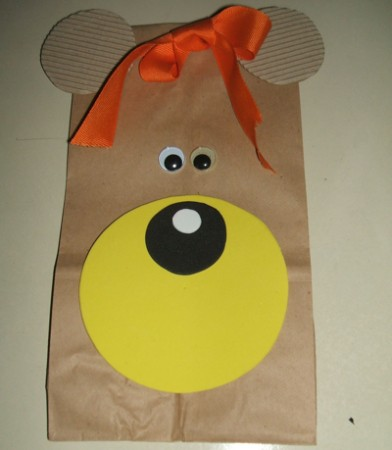 Decorated brown paper bag.
