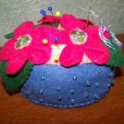 bright pink flowered pin cushion