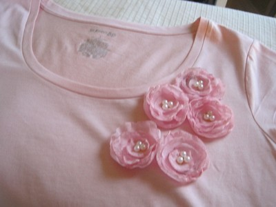 flowers near neckline.