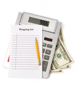 A calculator, shopping list and money for grocery shopping.