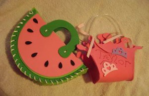 Craft foam purses, a watermelon and a crown.