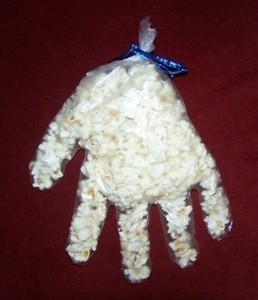 glove filled with popcorn