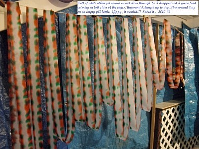 Dyed ribbon hanging to dry.