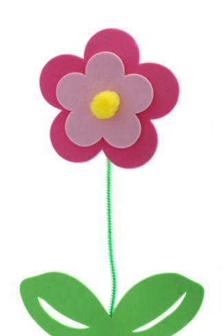A beautiful foam flower. A simple craft for children to make.