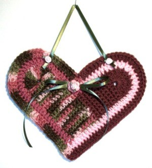 Crochet Heart Wall Hanging