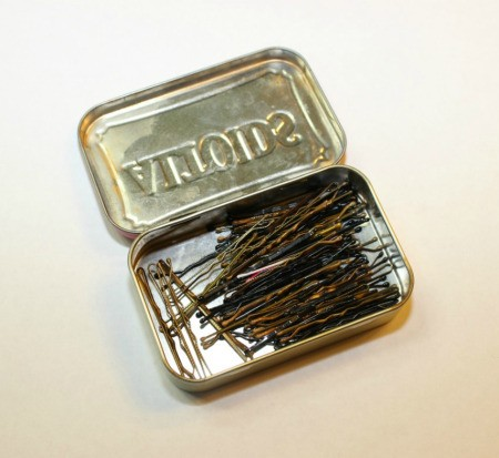 bobby pins in tin