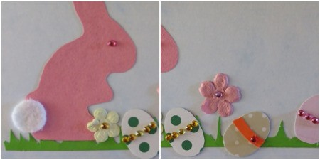 Two photos showing additon of decorations to eggs and bunny eye.