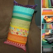 Pillow Made from Fabric Scraps