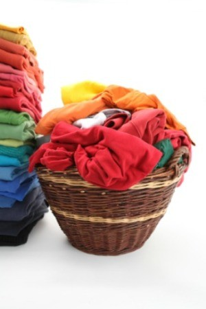 laundry basket of clean clothing