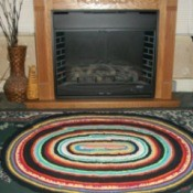 Rug on hearth.