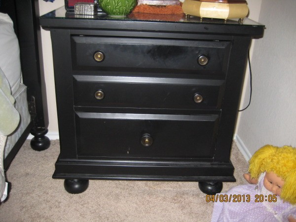 Black nightstand.