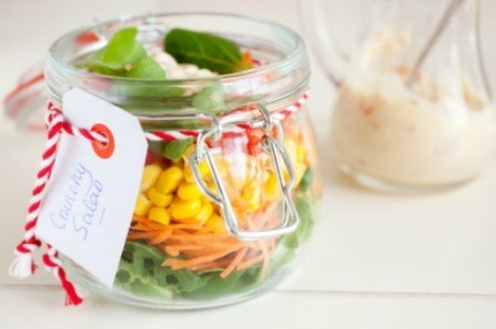 A salad in a glass jar.