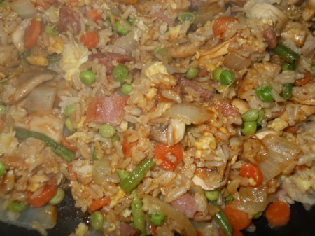 Add mushrooms, peas, and beans.