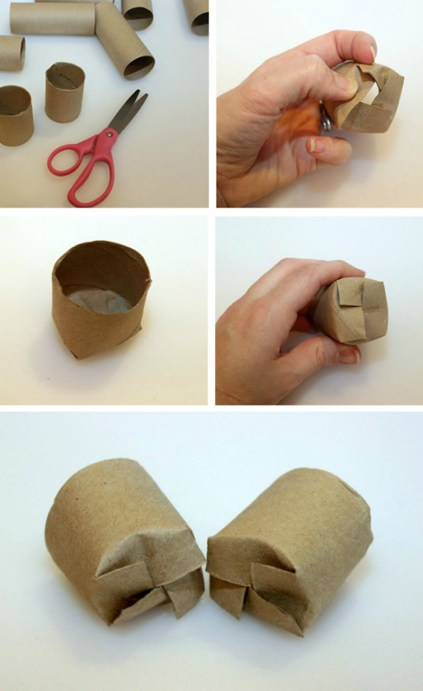Toilet paper tubes made into seedling containers.