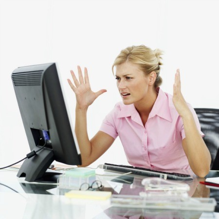 woman with computer problems