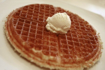 Whipped butter on a waffle.