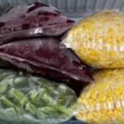 Frozen vegetables in freezer safe bags.