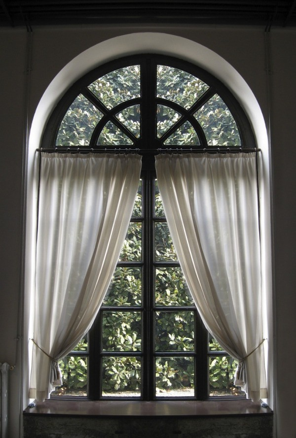 Making a curtain for an arched window thriftyfun for Arched kitchen window treatment ideas