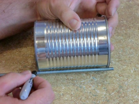 threaded dowels for making a tin can robot.