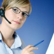 Woman doing medical transcription.