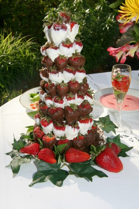 Chocolate covered strawberry centerpiece.