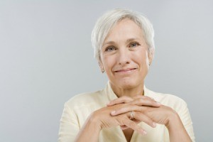 gray haired woman