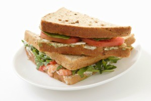 Sandwich with mayonnaise alternative.