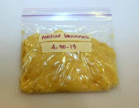 mashed banana in baggie