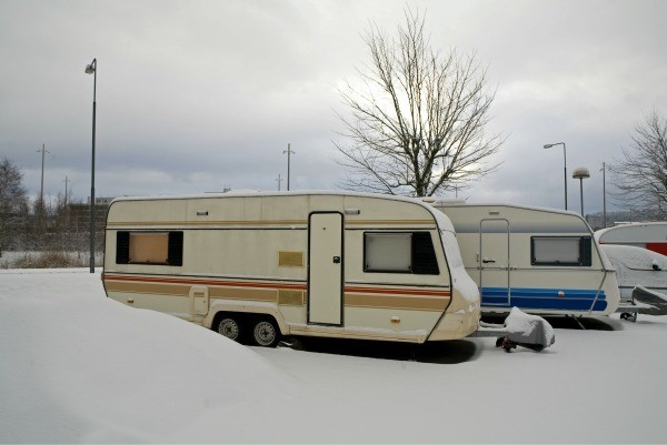 Mobile Homes in Snow