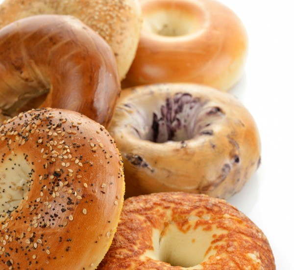 A variety of bagels.