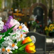Beautiful flower arrangement at a grave site.