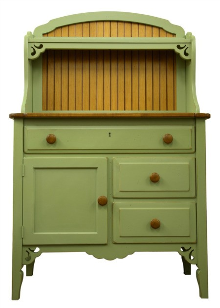 Green painted cupboard.