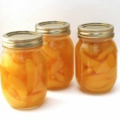 Peaches canned at home.