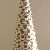 A cone shaped 3D Christmas tree.