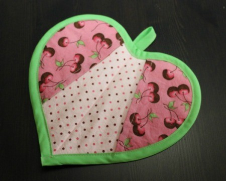 Heart shaped pot holder.