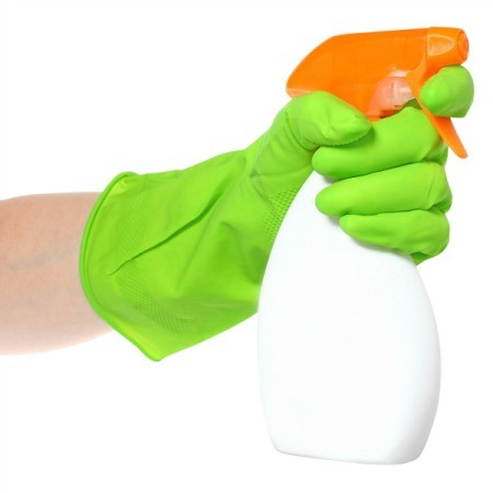 Cleaner in a spray bottle.
