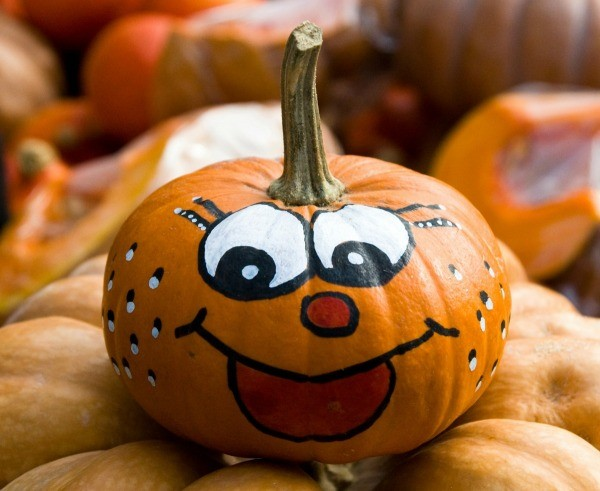 Decorating pumpkins without carving them thriftyfun Funny pumpkin painting ideas