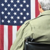 Disabled veteran in a wheelchair in front of an American flag.