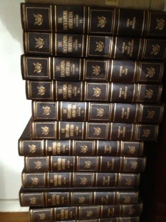 Several volumes of encyclopedia.