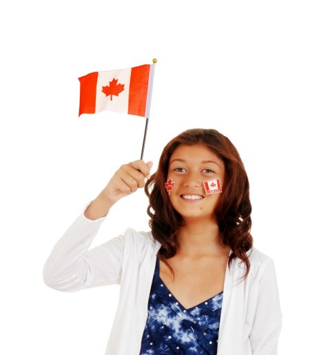 A girl celebrating Canada Day.