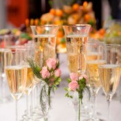 Champagne glasses at a wedding.