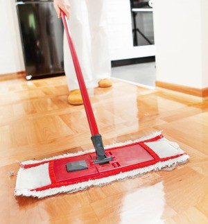 mopping a floor