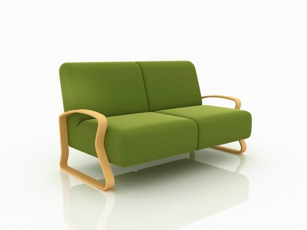 New green sofa.