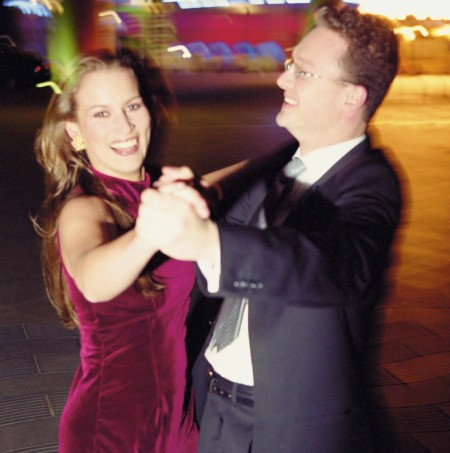 A couple dancing at a fundraiser.