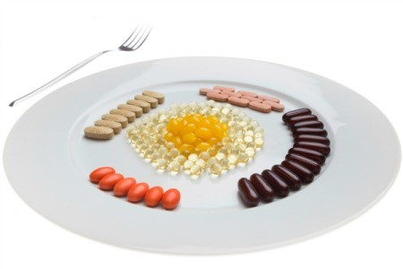 A plate full of supplements.