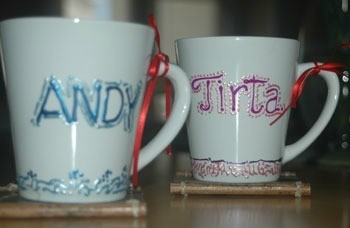 Personalized mugs.