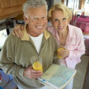 A man and woman in their RV.